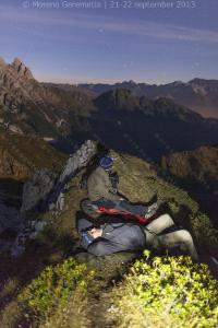 Bivacco notturno in luogo scomodo, Dolomiti