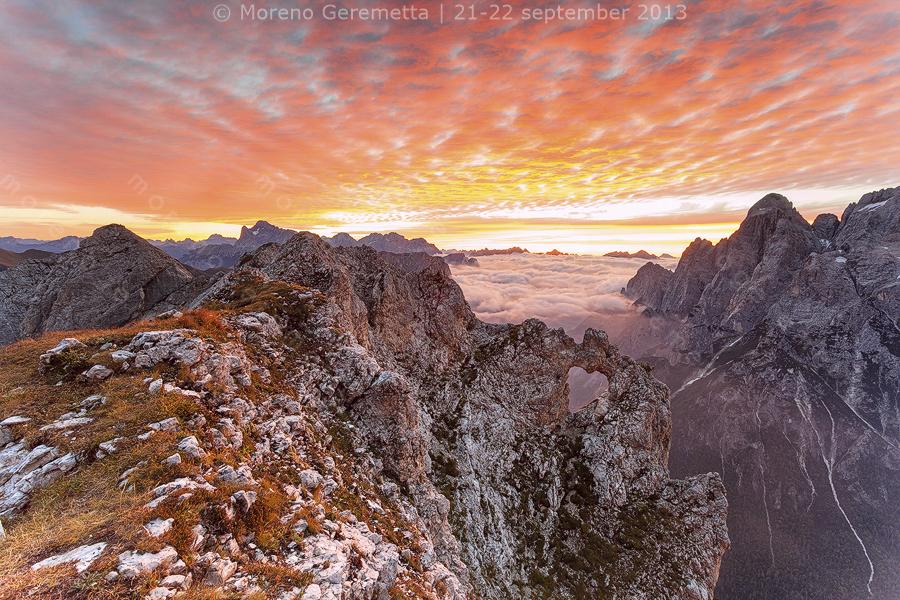 Alba autunnale al Cor, Dolomiti