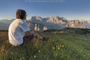 Ammirando il tramonto sulle pareti di Civetta e Moiazza